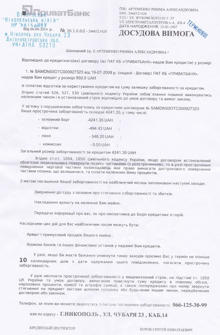 кредитный договор приватбанка